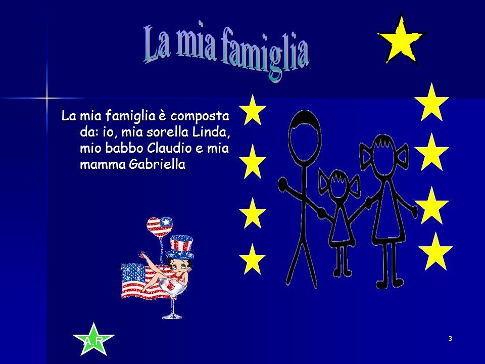 La mia famiglia La mia famiglia è composta da: io, mia sorella Linda, mio babbo Claudio e mia mamma Gabriella.