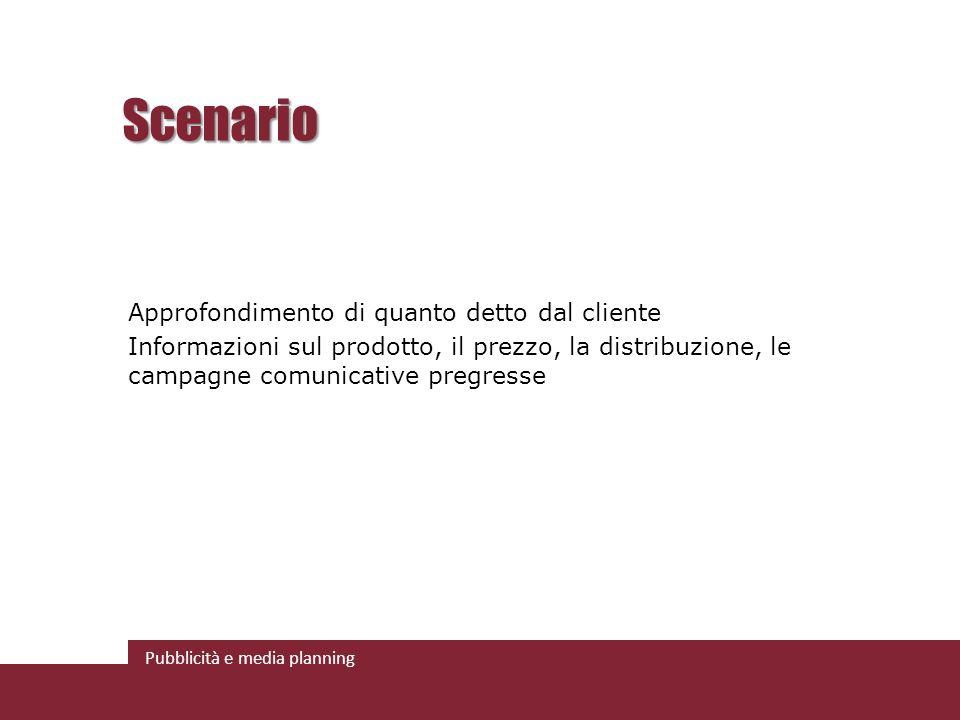 Scenario Approfondimento di quanto detto dal cliente Informazioni sul prodotto, il prezzo, la distribuzione, le campagne comunicative pregresse
