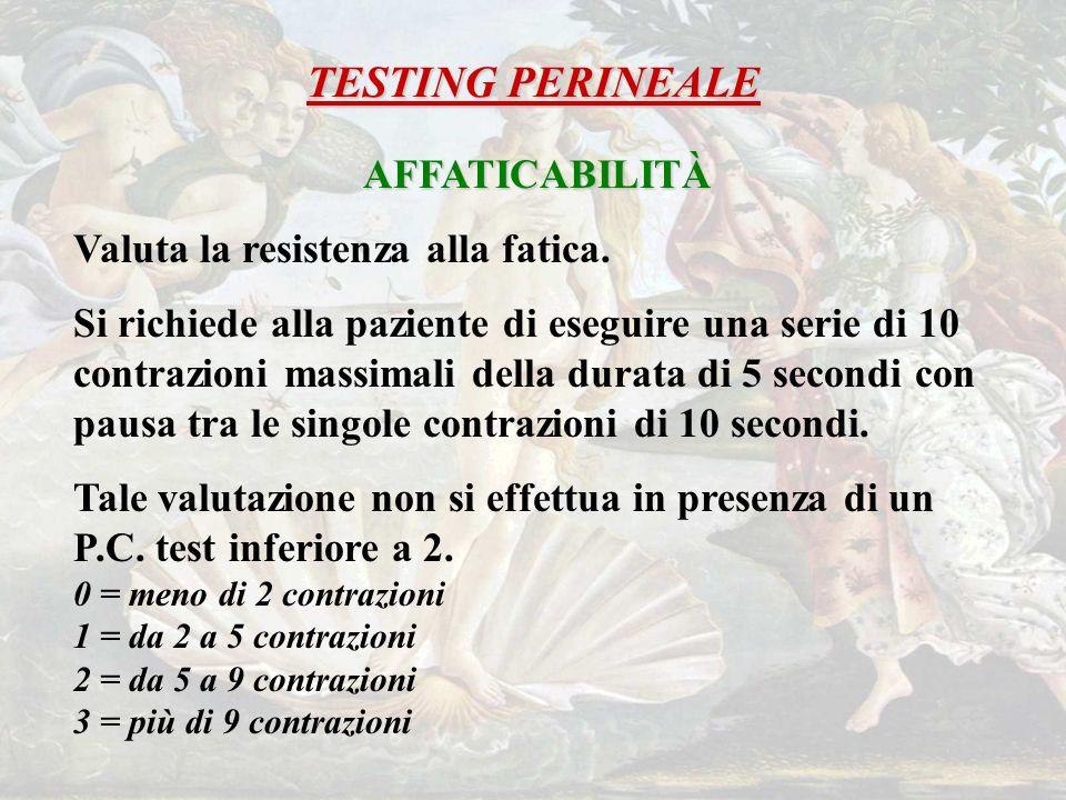 TESTING PERINEALE AFFATICABILITÀ Valuta la resistenza alla fatica.