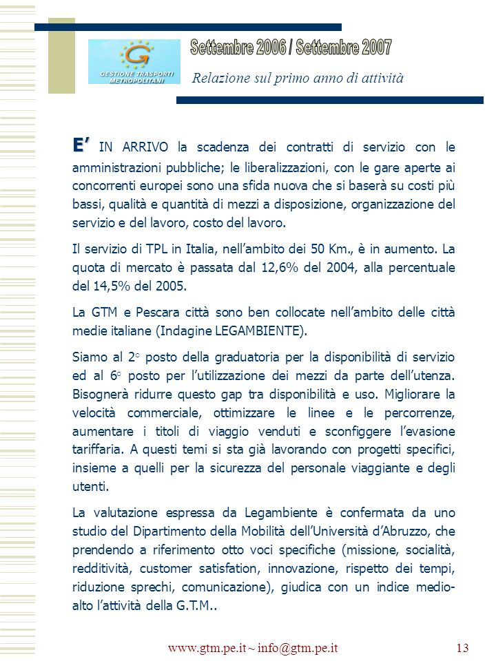 www.gtm.pe.it ~ info@gtm.pe.it