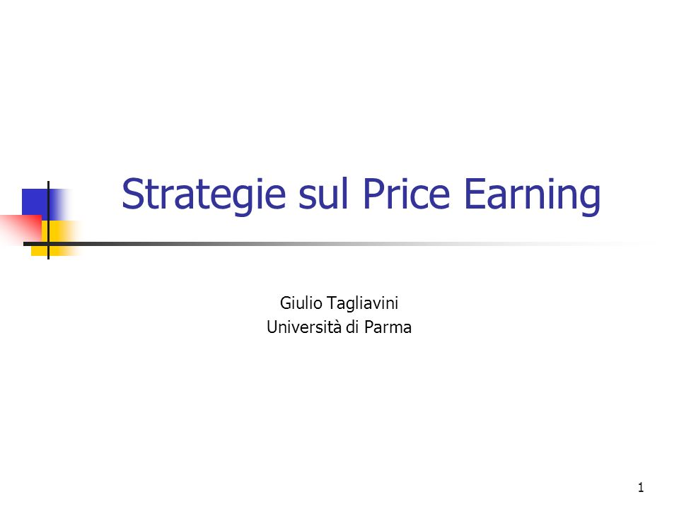 Strategie sul Price Earning