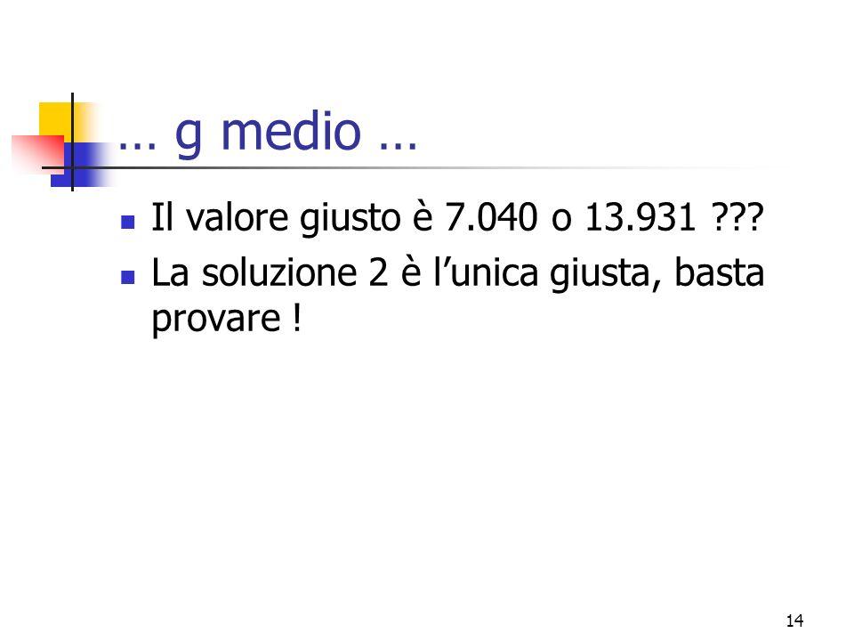 … g medio … Il valore giusto è 7.040 o 13.931