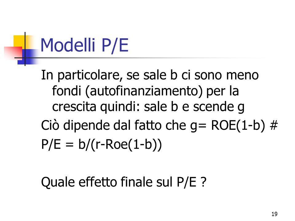 Modelli P/E In particolare, se sale b ci sono meno fondi (autofinanziamento) per la crescita quindi: sale b e scende g.