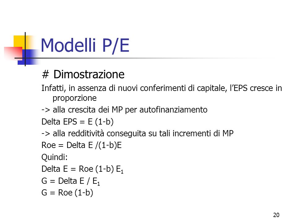 Modelli P/E # Dimostrazione