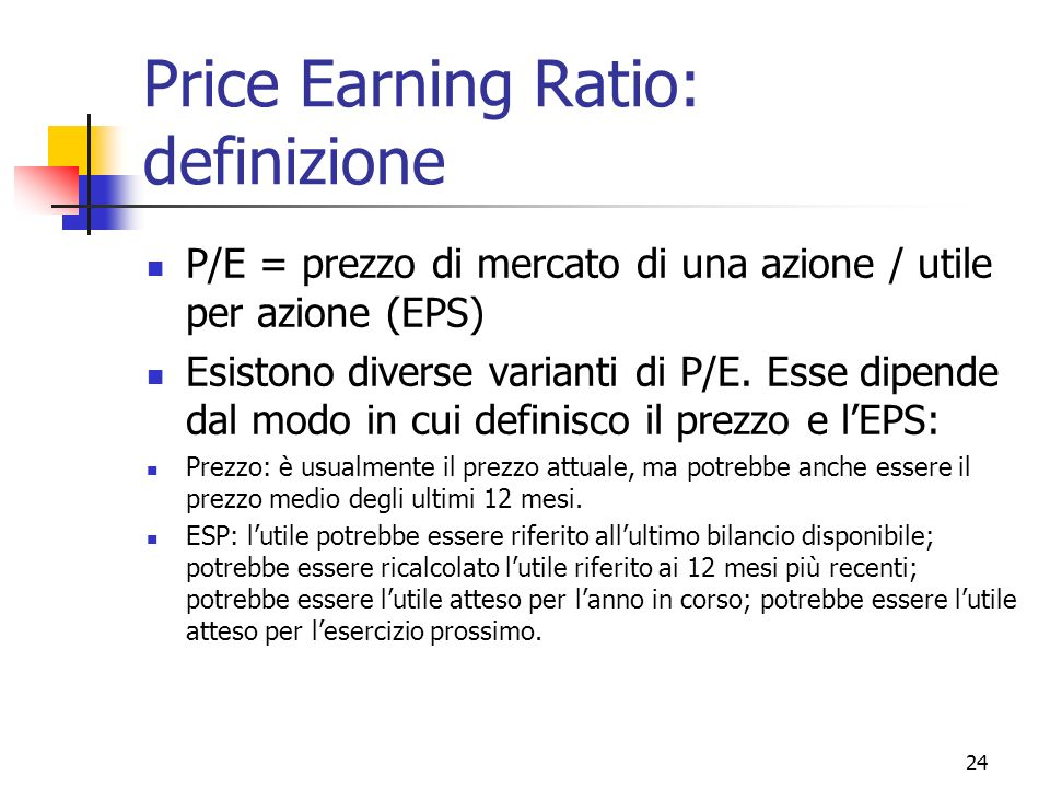 Price Earning Ratio: definizione