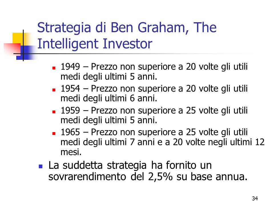 Strategia di Ben Graham, The Intelligent Investor