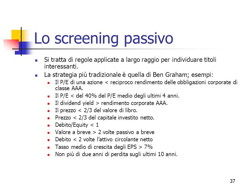 Lo screening passivo Si tratta di regole applicate a largo raggio per individuare titoli interessanti.