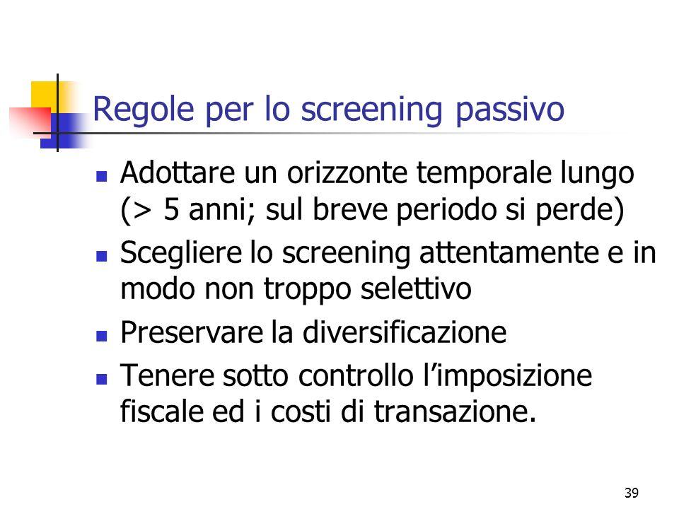Regole per lo screening passivo