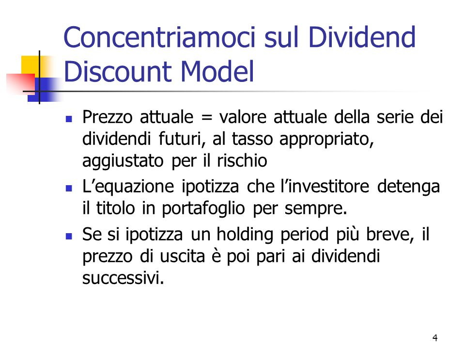 Concentriamoci sul Dividend Discount Model