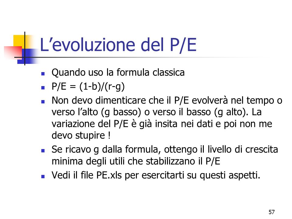 L'evoluzione del P/E Quando uso la formula classica P/E = (1-b)/(r-g)