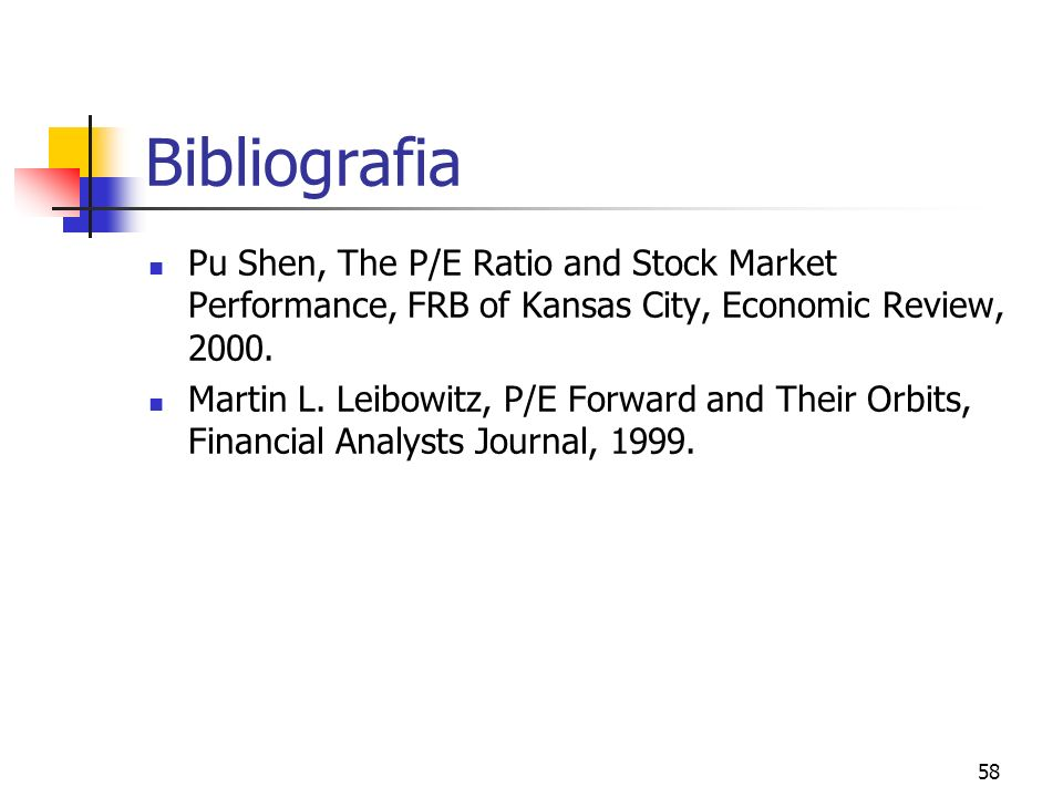 Bibliografia Pu Shen, The P/E Ratio and Stock Market Performance, FRB of Kansas City, Economic Review, 2000.