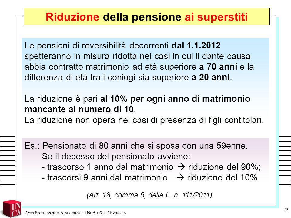 Riduzione della pensione ai superstiti