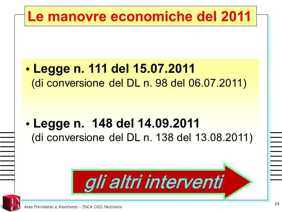 gli altri interventi Le manovre economiche del 2011