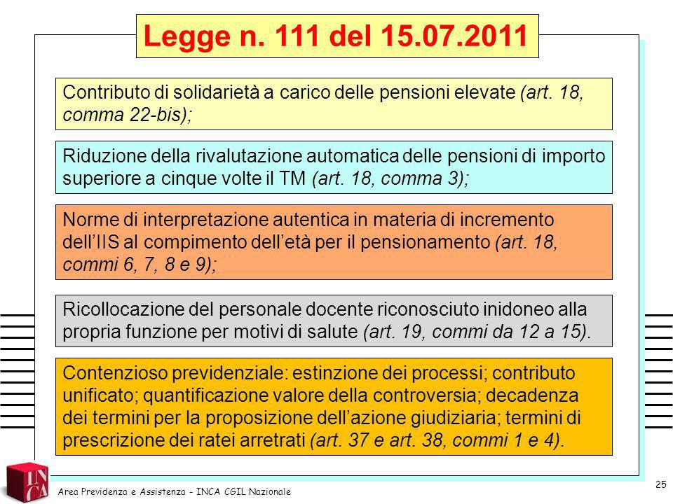 Legge n. 111 del 15.07.2011 Contributo di solidarietà a carico delle pensioni elevate (art. 18, comma 22-bis);