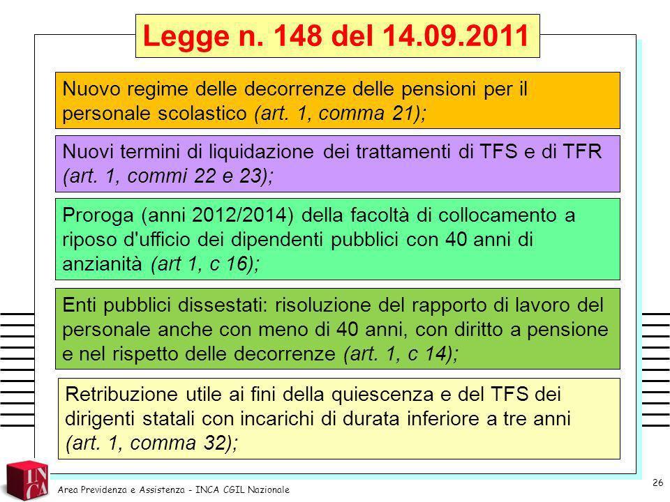 Legge n. 148 del 14.09.2011 Nuovo regime delle decorrenze delle pensioni per il personale scolastico (art. 1, comma 21);
