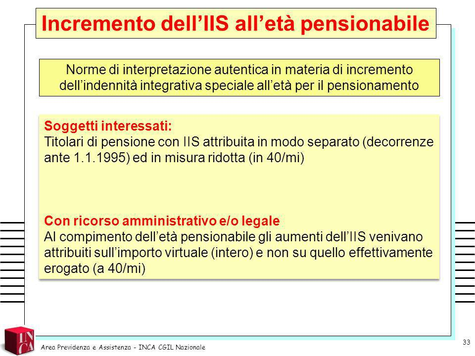 Incremento dell'IIS all'età pensionabile