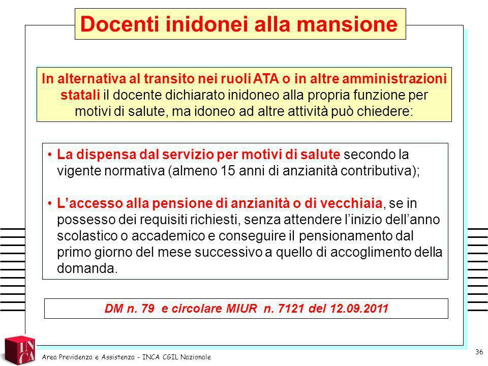 DM n. 79 e circolare MIUR n. 7121 del 12.09.2011