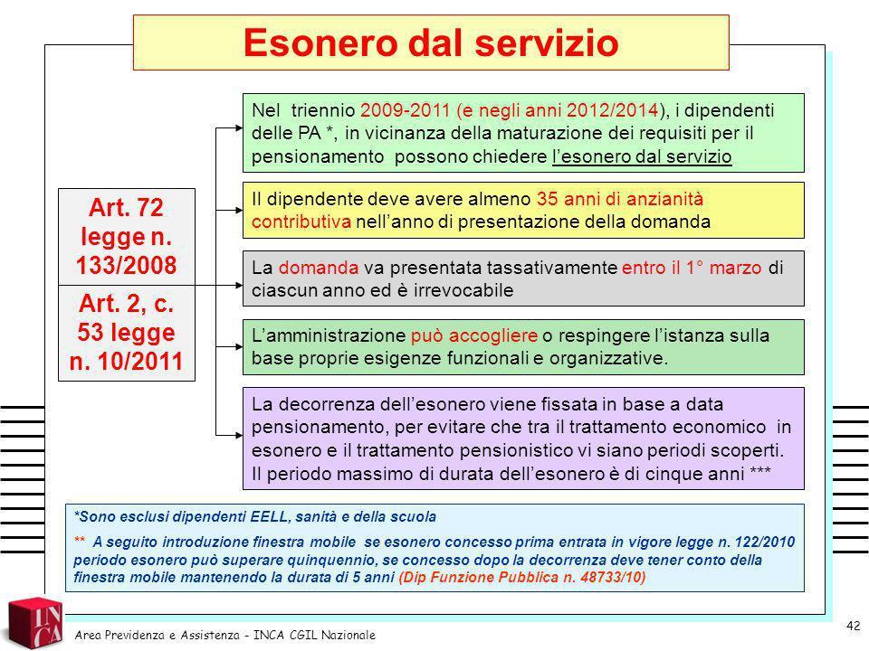 Esonero dal servizio Art. 72 legge n. 133/2008