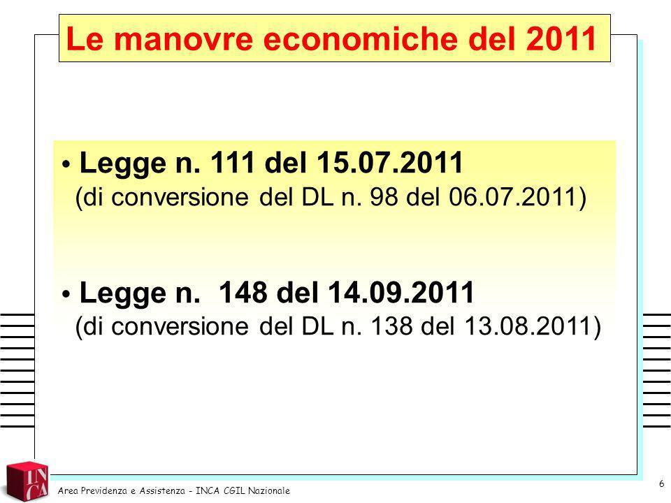Le manovre economiche del 2011