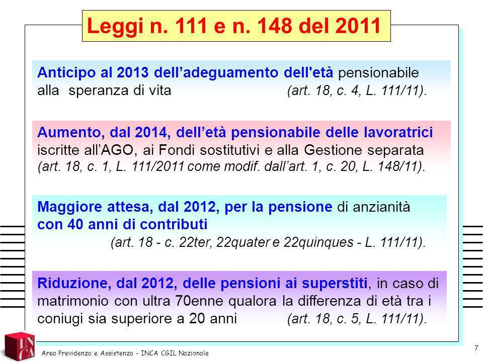 Leggi n. 111 e n. 148 del 2011 Anticipo al 2013 dell'adeguamento dell età pensionabile alla speranza di vita (art. 18, c. 4, L. 111/11).
