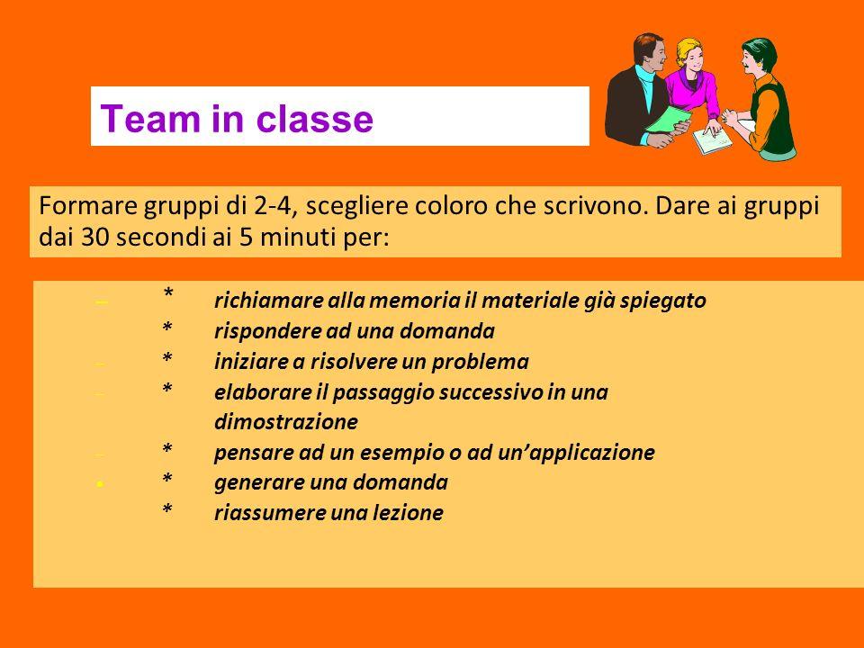 Team in classe Formare gruppi di 2-4, scegliere coloro che scrivono. Dare ai gruppi dai 30 secondi ai 5 minuti per: