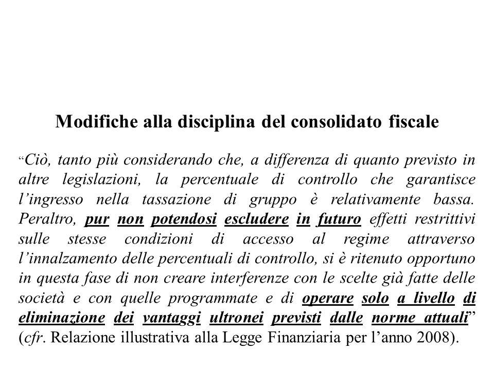 Modifiche alla disciplina del consolidato fiscale