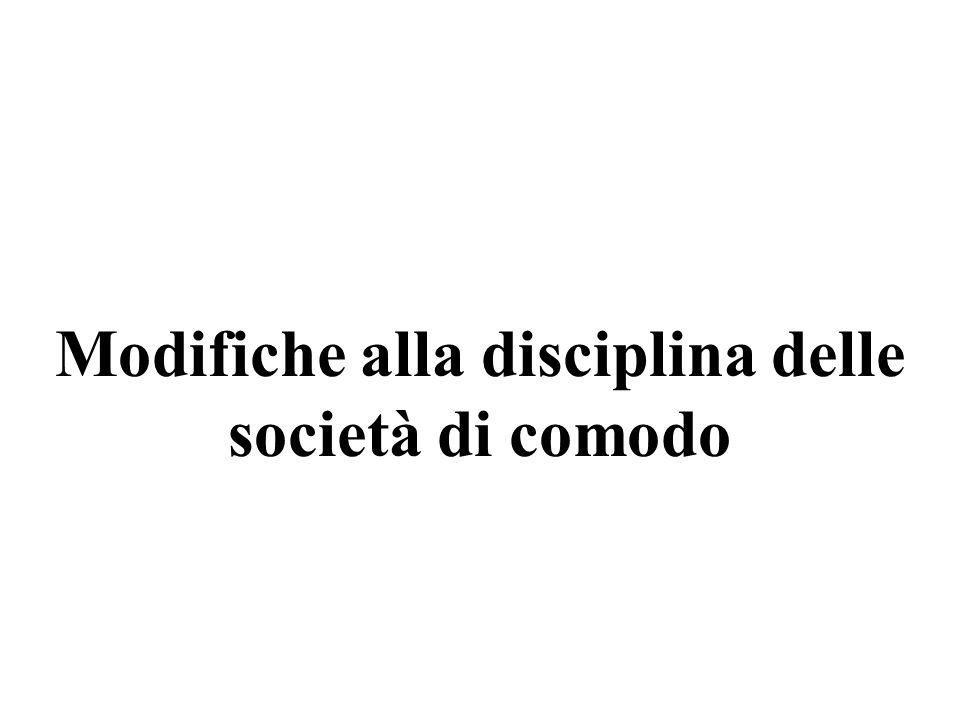 Modifiche alla disciplina delle società di comodo