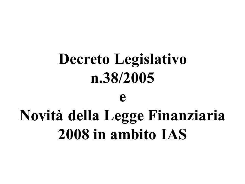 Novità della Legge Finanziaria 2008 in ambito IAS
