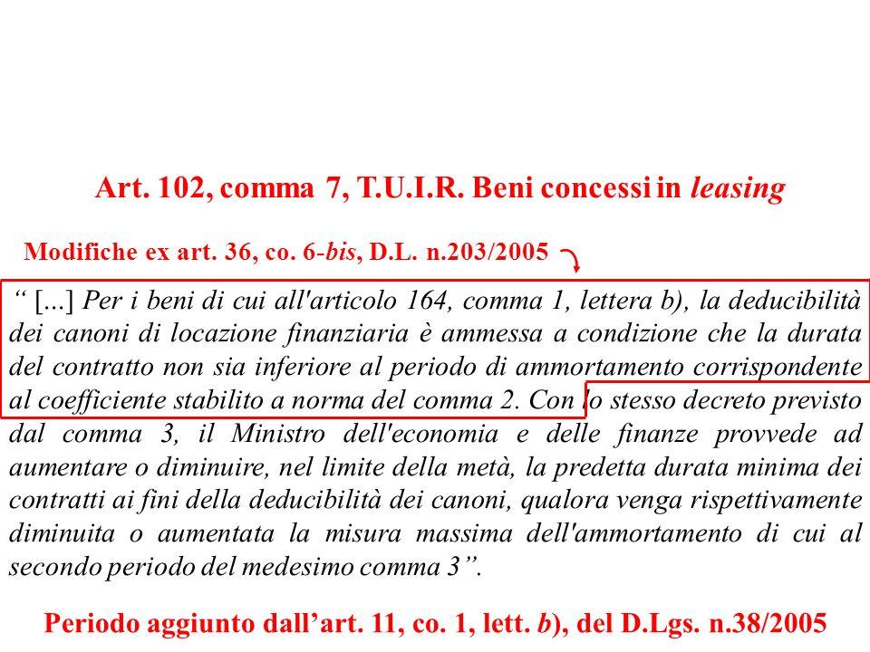 Art. 102, comma 7, T.U.I.R. Beni concessi in leasing