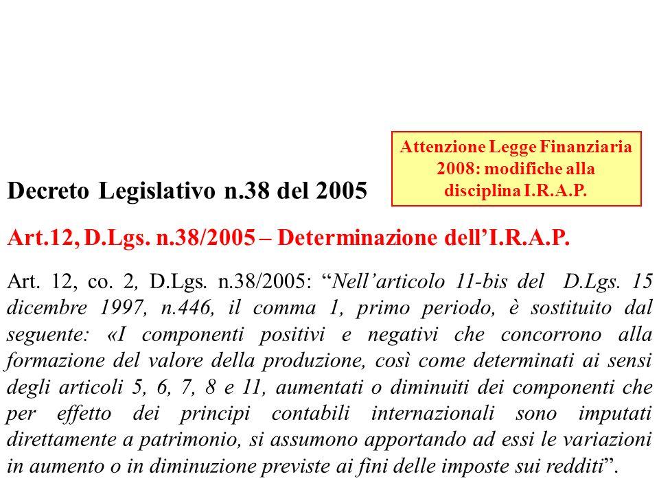 Attenzione Legge Finanziaria 2008: modifiche alla disciplina I.R.A.P.
