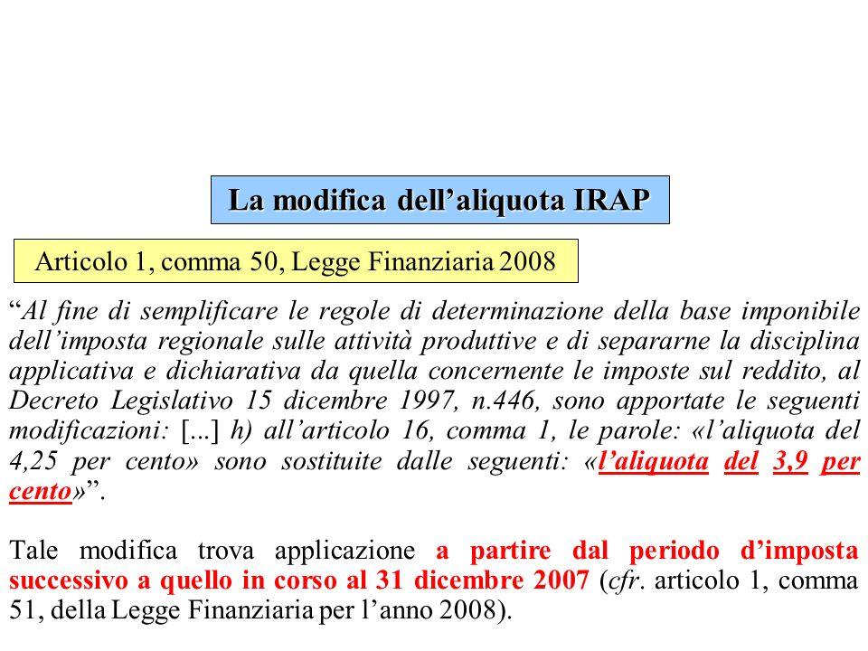 La modifica dell'aliquota IRAP