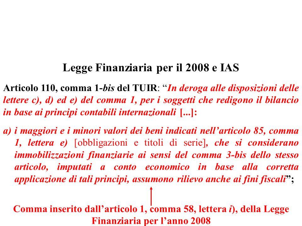 Legge Finanziaria per il 2008 e IAS