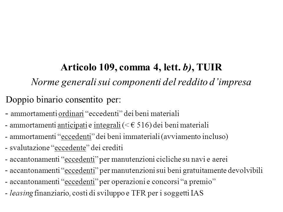 Articolo 109, comma 4, lett. b), TUIR