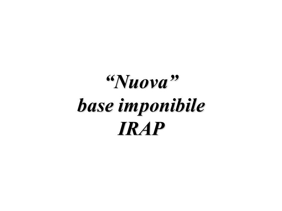 Nuova base imponibile IRAP