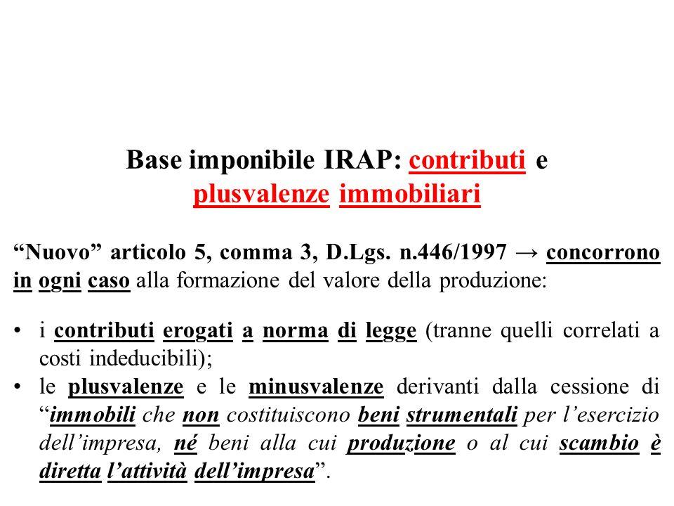 Base imponibile IRAP: contributi e plusvalenze immobiliari