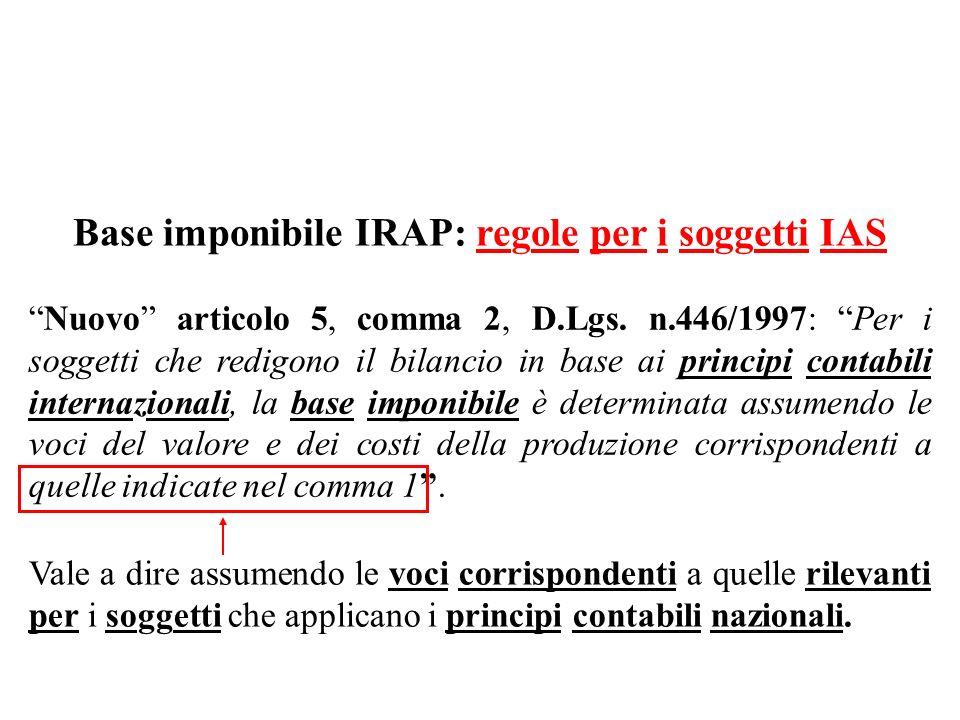 Base imponibile IRAP: regole per i soggetti IAS