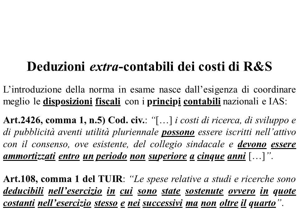 Deduzioni extra-contabili dei costi di R&S