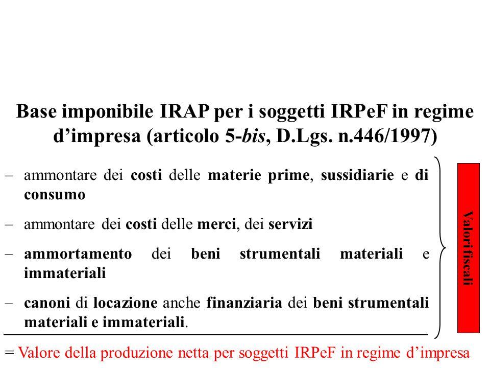Base imponibile IRAP per i soggetti IRPeF in regime d'impresa (articolo 5-bis, D.Lgs. n.446/1997)