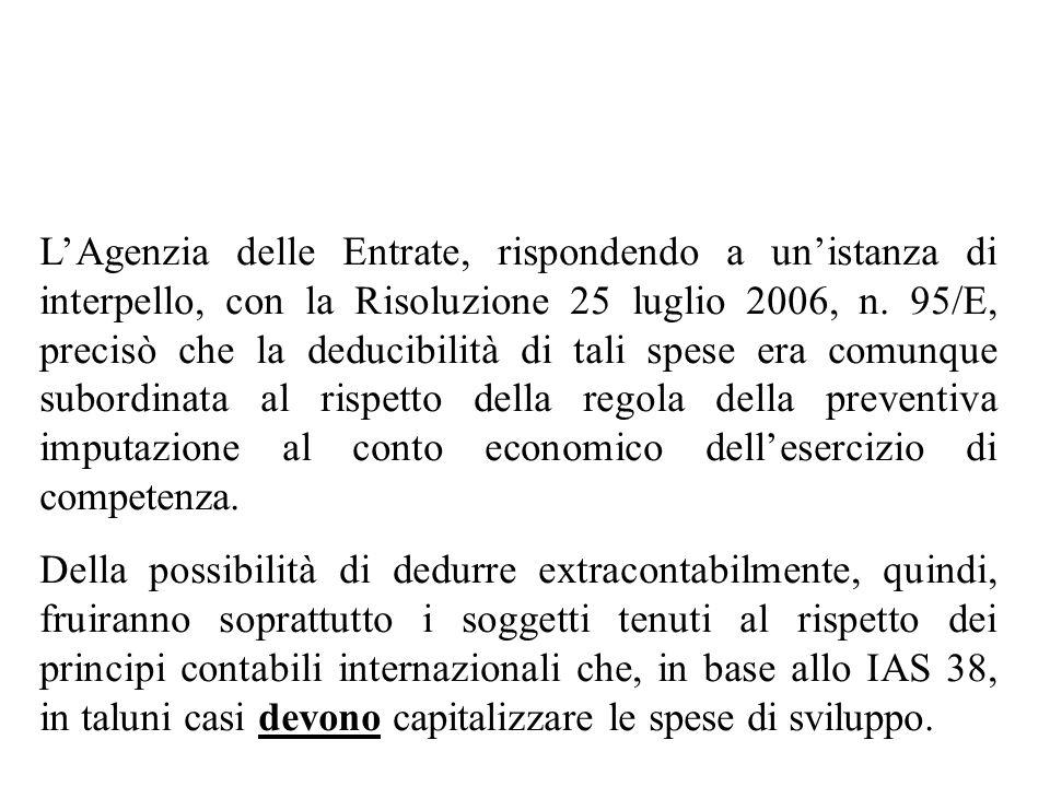L'Agenzia delle Entrate, rispondendo a un'istanza di interpello, con la Risoluzione 25 luglio 2006, n. 95/E, precisò che la deducibilità di tali spese era comunque subordinata al rispetto della regola della preventiva imputazione al conto economico dell'esercizio di competenza.