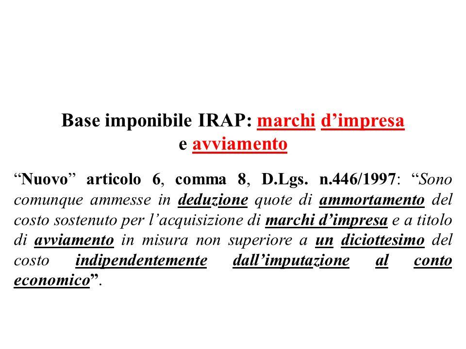 Base imponibile IRAP: marchi d'impresa