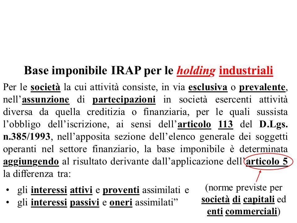 Base imponibile IRAP per le holding industriali