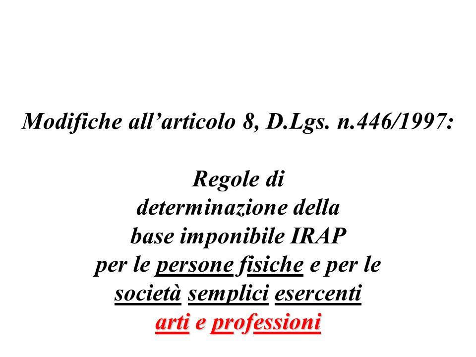 Modifiche all'articolo 8, D.Lgs. n.446/1997: Regole di