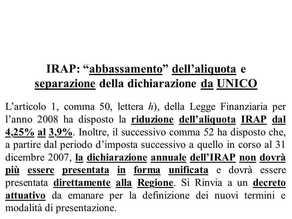 IRAP: abbassamento dell'aliquota e