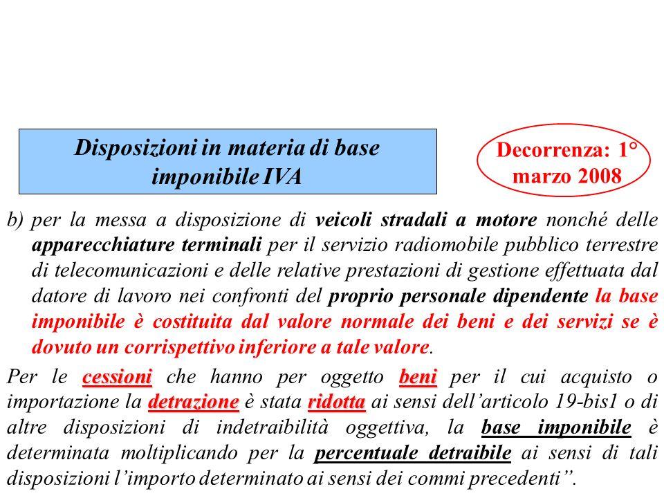 Disposizioni in materia di base imponibile IVA