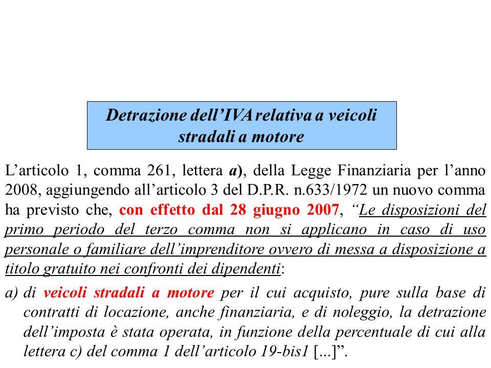 Detrazione dell'IVA relativa a veicoli stradali a motore