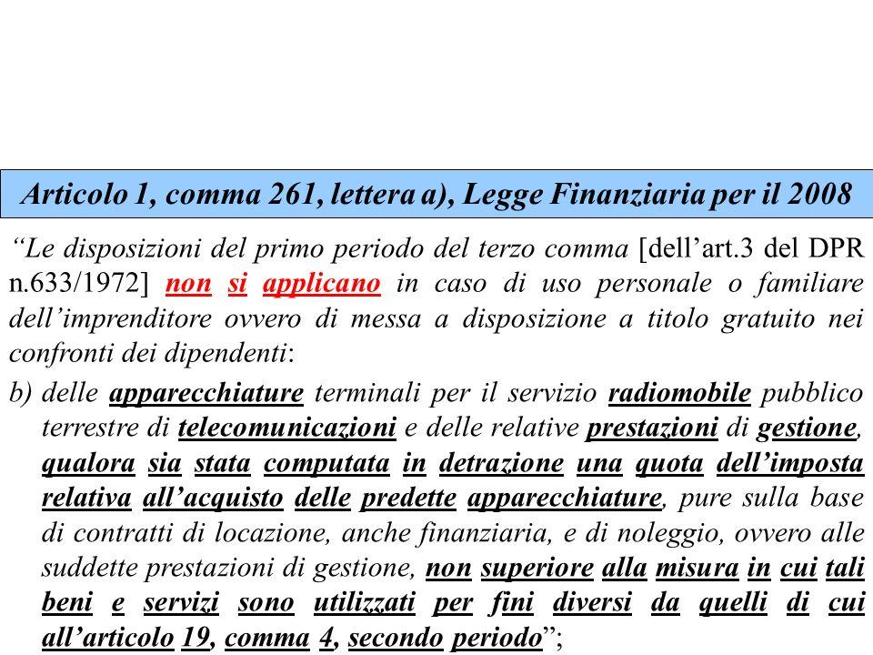 Articolo 1, comma 261, lettera a), Legge Finanziaria per il 2008