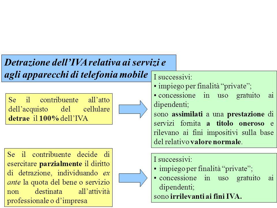 Detrazione dell'IVA relativa ai servizi e agli apparecchi di telefonia mobile