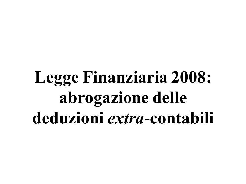deduzioni extra-contabili