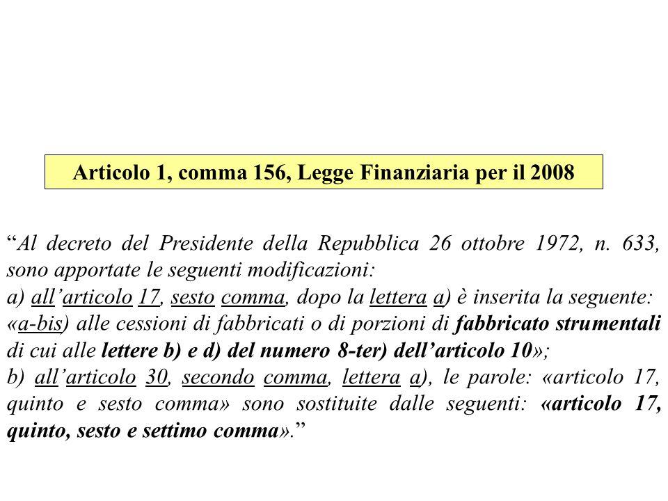 Articolo 1, comma 156, Legge Finanziaria per il 2008
