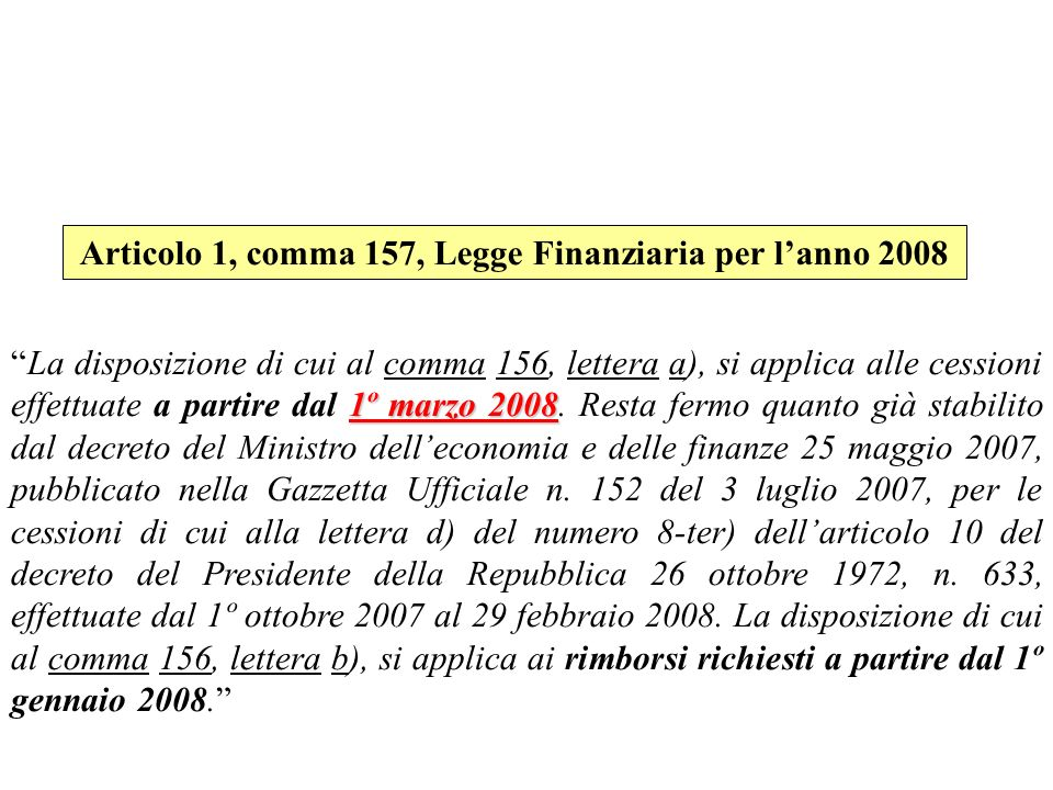 Articolo 1, comma 157, Legge Finanziaria per l'anno 2008